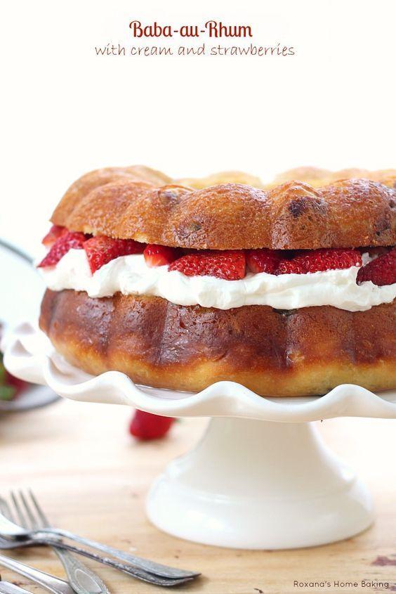 Baba au Rhum with cream and strawberries #babaaurhumrecette