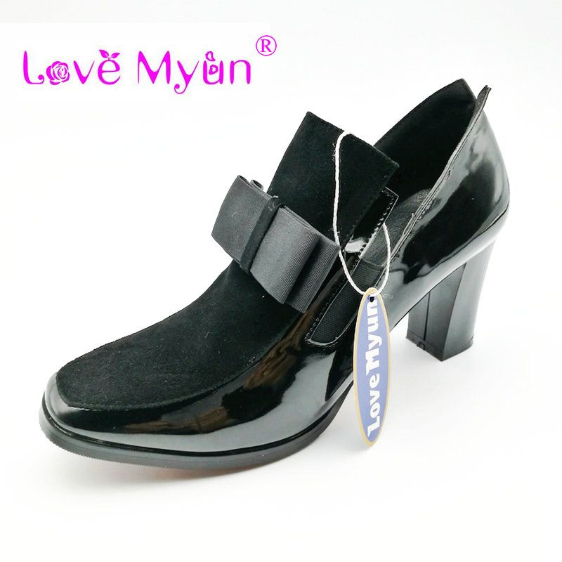 58e965c5bb2 New 100% Red Bottom sole high heels pumps square toe genuine leather shoes  women ladies