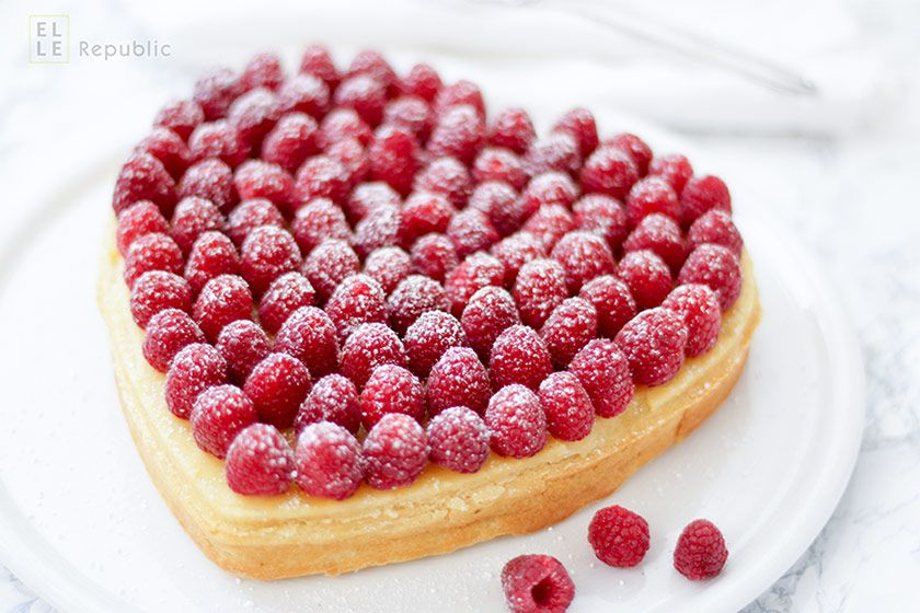 Valentine Heart Lemon-Lime Cake with Greek Yogurt, Almond Milk and Raspberries