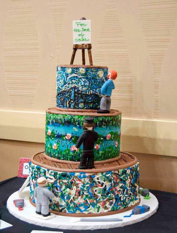 Van Gogh cake Monet and... Picasso? Well squiggly painted ...