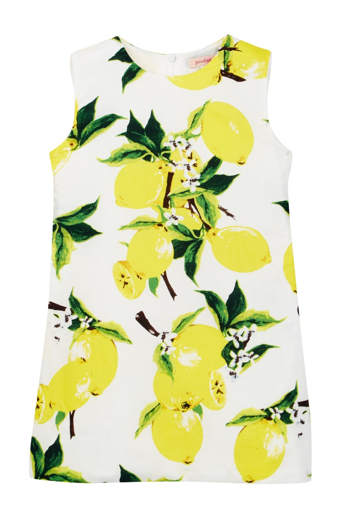 Lemon Print Dress (Toddler Girls)