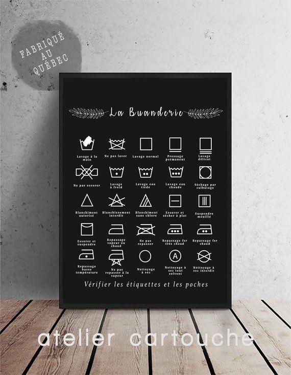 Règles de buanderie, symboles de lavage, affiche pour la lessive, symboles de buanderie, Art Print, décor moderne de maison, tableau noir