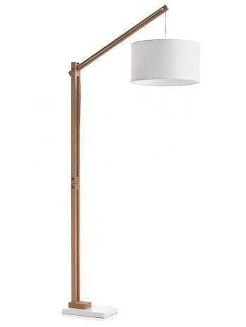 Meravigliosa lampada da terra in legno naturale e paralume in ...