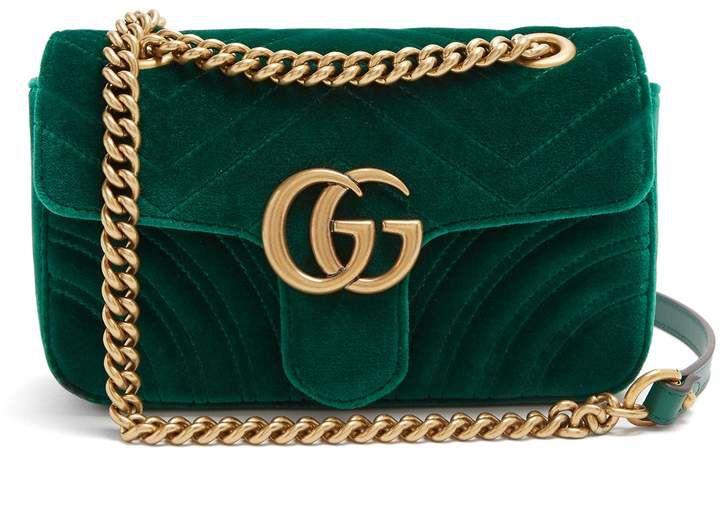 8d15a52961c GUCCI GG Marmont mini quilted-velvet cross-body bag