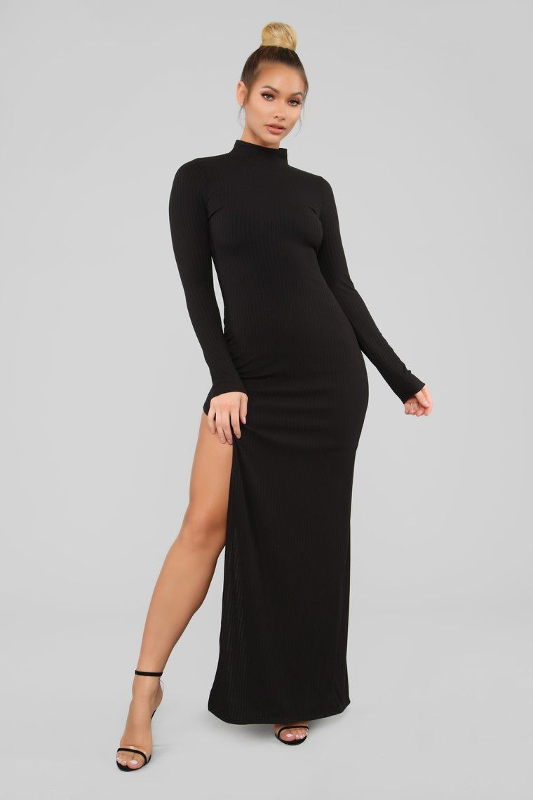 Like It Or Leave It Ribbed Maxi Dress Black in 2021