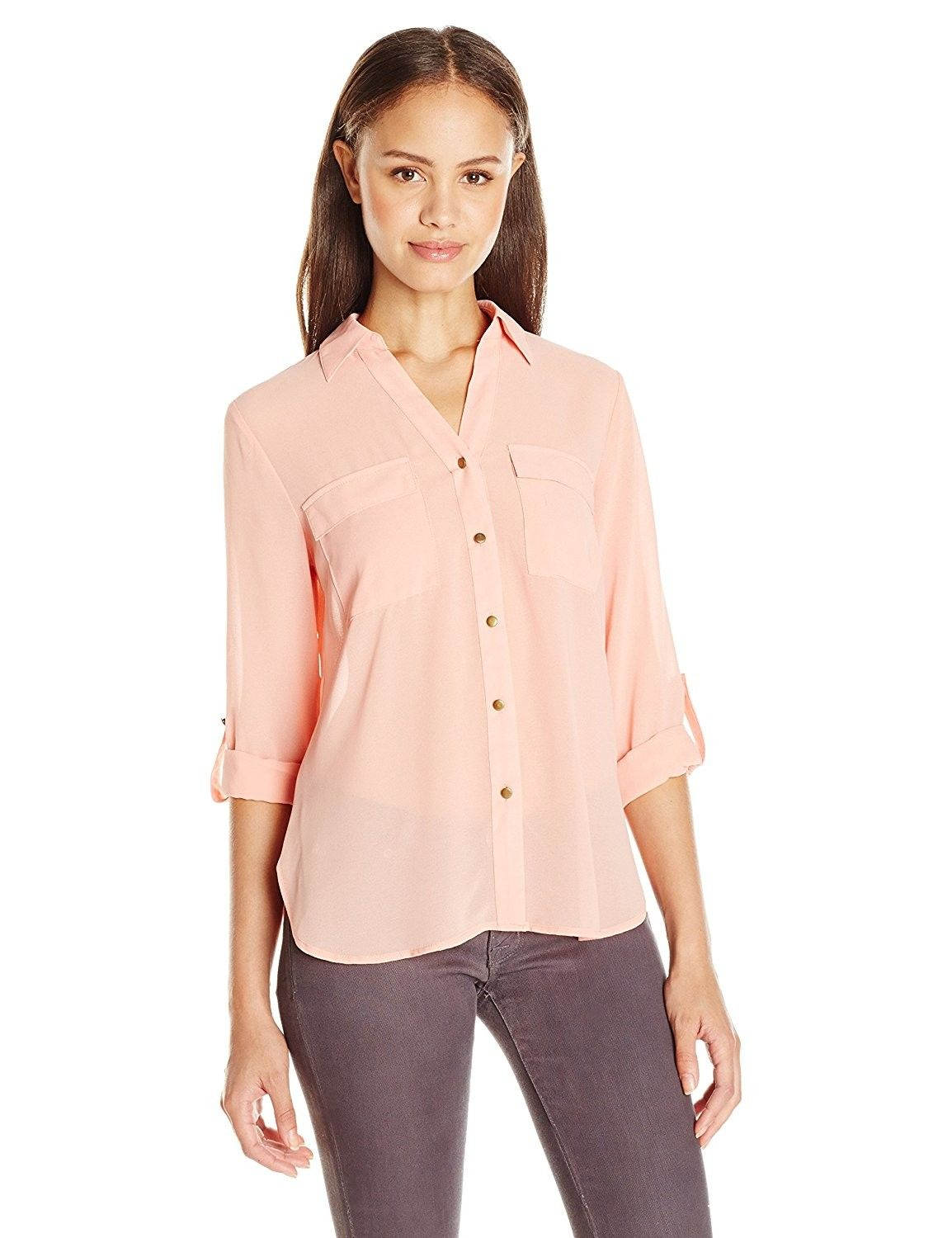 d989f932 Juniors Sheer Collared Button Front Tops with Front Pockets and Zip Back -  Salmon - CP12GTBZDPH,Women's Clothing, Tops & Tees, Blouses & Button-Down  Shirts ...