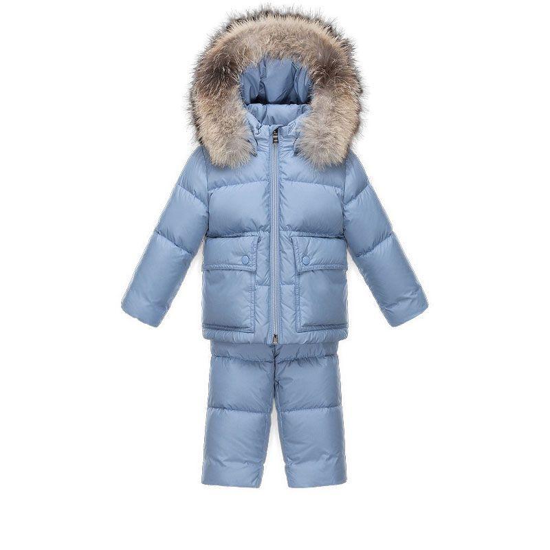2924d9fd2 Baby Moncler Blue Enfant Gael Fur-trimmed Hooded Suit | Discounts ...