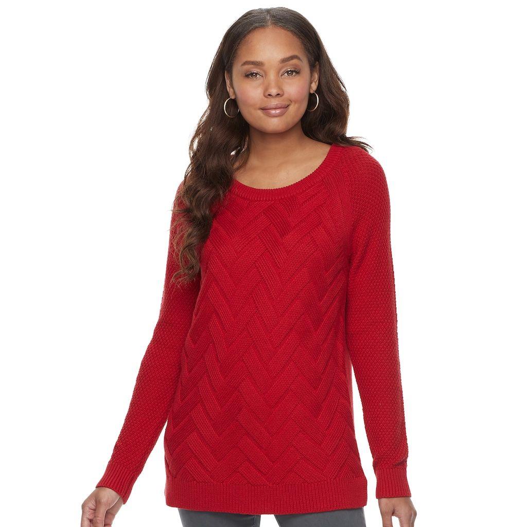 "Women's SONOMA Goods for Lifeâ""¢ Lattice Sweater, Size: XL, Lt ..."