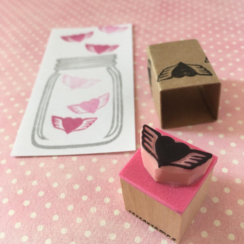 Winged heart stamp, mini stamp, hand carved, Valentine\'s decor, DIY ...