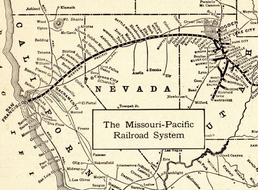 1917 Antique MISSOURI PACIFIC RAILROAD Map Vintage RAILWAY ...