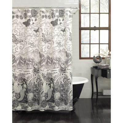 Tateez Shower Curtain In Black White With Images Mermaid