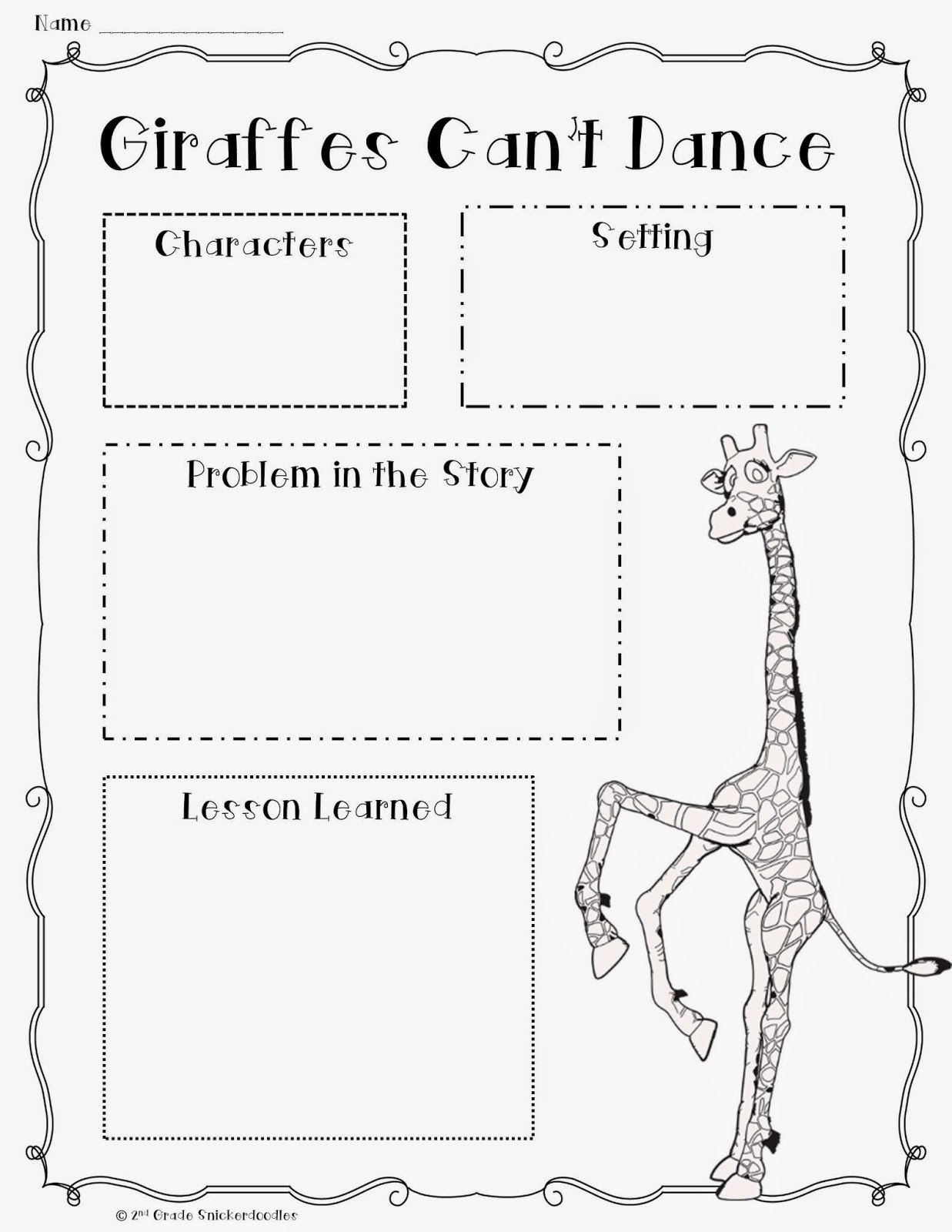 worksheet Character Traits Worksheet 2nd Grade 2nd grade snickerdoodles giraffes cant dance book chat with a freebie
