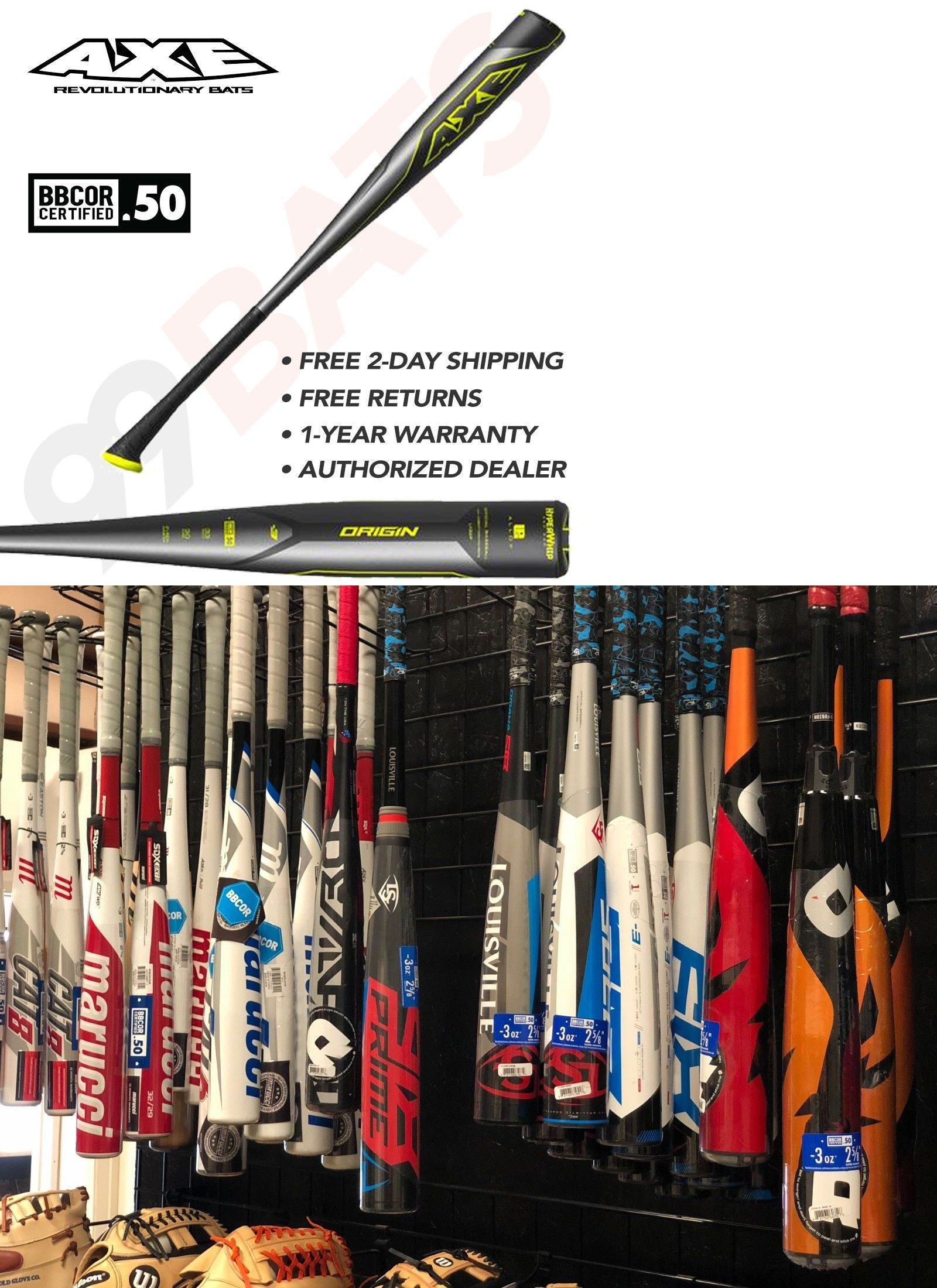 Baseball-Youth 73897: Axe Bat 2018 Origin Bbcor (-3