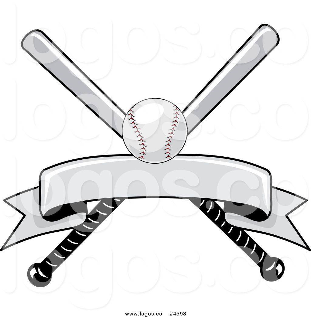Royalty Free Baseball Bat And Ball With Blank Banner Logo Blank Banner Baseball Bat Logo Banners