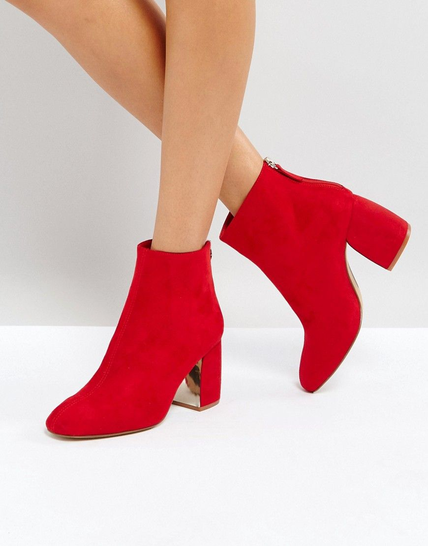 576cedbc10c Stradivarius Block Heel Ankle Boot - Red | Shop the look products ...