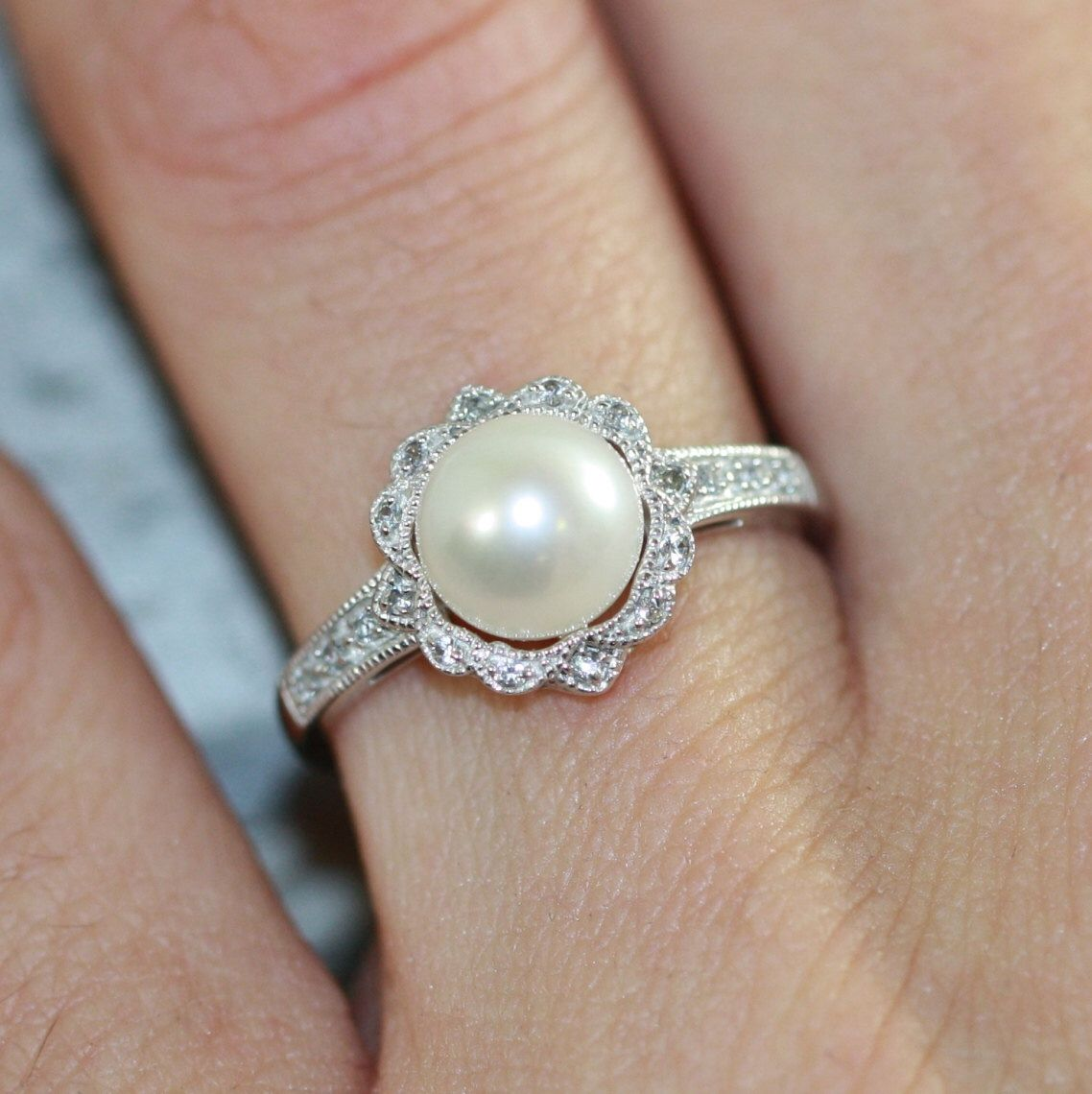 Vintage Inspired Floral Pearl Ring In 10k White Gold Pearl Engagement Ring  June Birthstone Ring Gemstone Band, Size 7 (resizable)