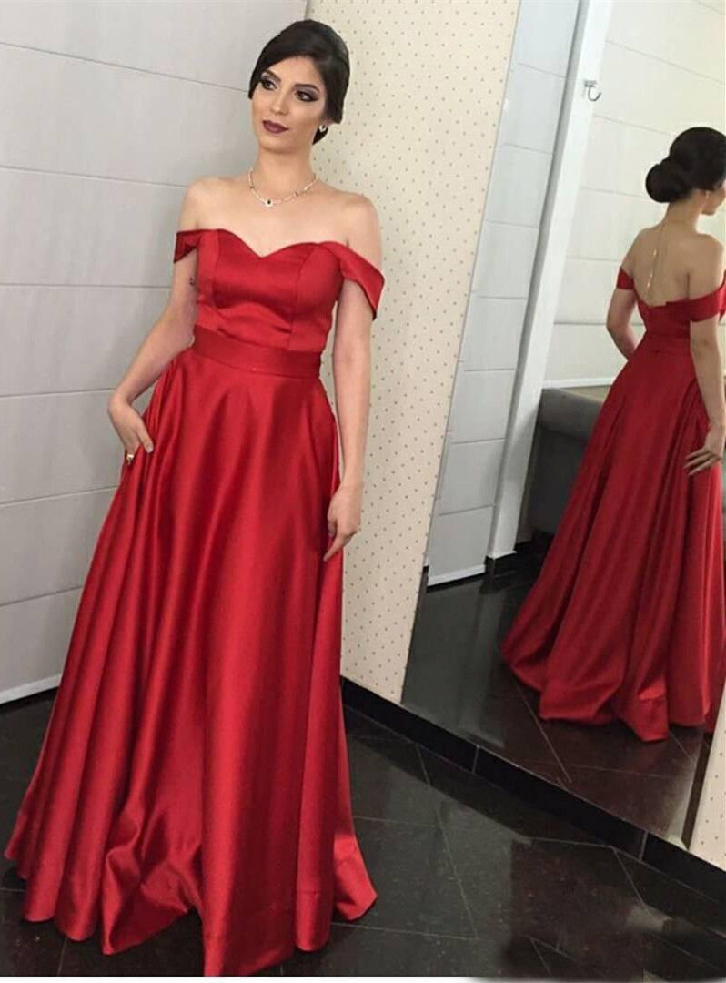 A-Line Off-the-Shoulder Sweep Train Red Satin Evening Prom Dress