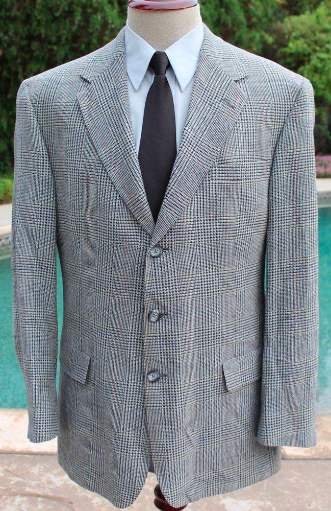 Hart Schaffner & Marx Blazer Sport Coat size 42L Plaid Houndstooth 3 Btn Wool #HartSchaffnerMarx #ThreeButton