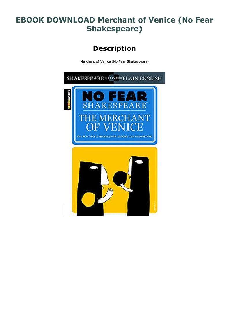 Ebook Download Merchant Of Venice No Fear Shakespeare The Paraphrase Pdf