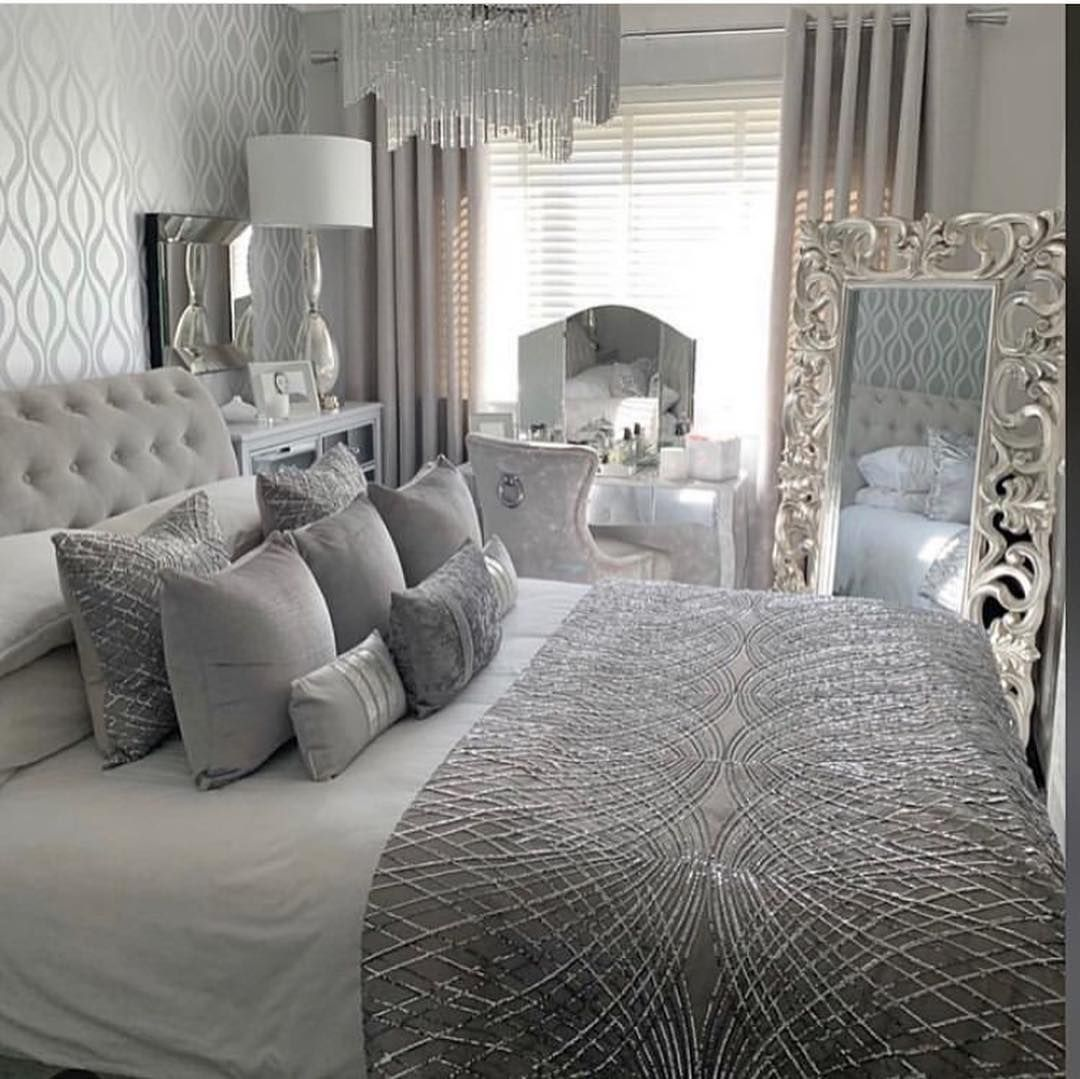 Grey And Silver Why Not Absolutely Stunning Bedroom Lolyndecor Bed Bedro Luxurious Bedrooms Master Bedrooms Decor Silver Bedroom