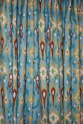 4 Drapes Robert Allen Khanjali Teal Brown Linen Ikat Print Drapes Fully Lined | eBay