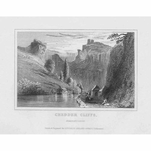 SOMERSET Cheddar Cliffs - Antique Print c1840