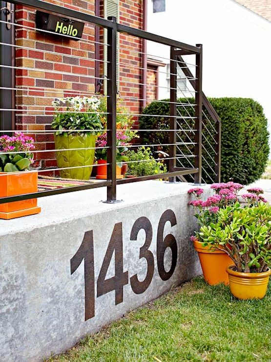 Large painted on modern house numbers ways to display for Big modern house numbers