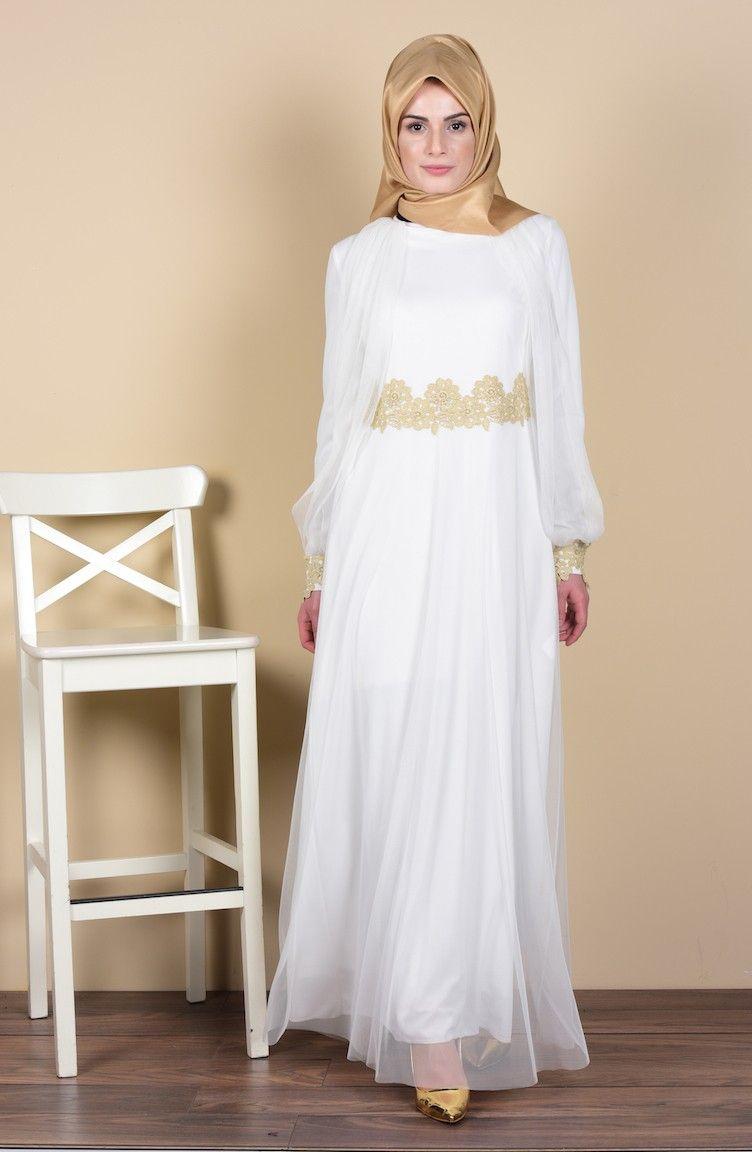 Sefamerve Dantel Detayli Tesettur Tul Elbise Modelleri Elbise Modelleri Elbise The Dress