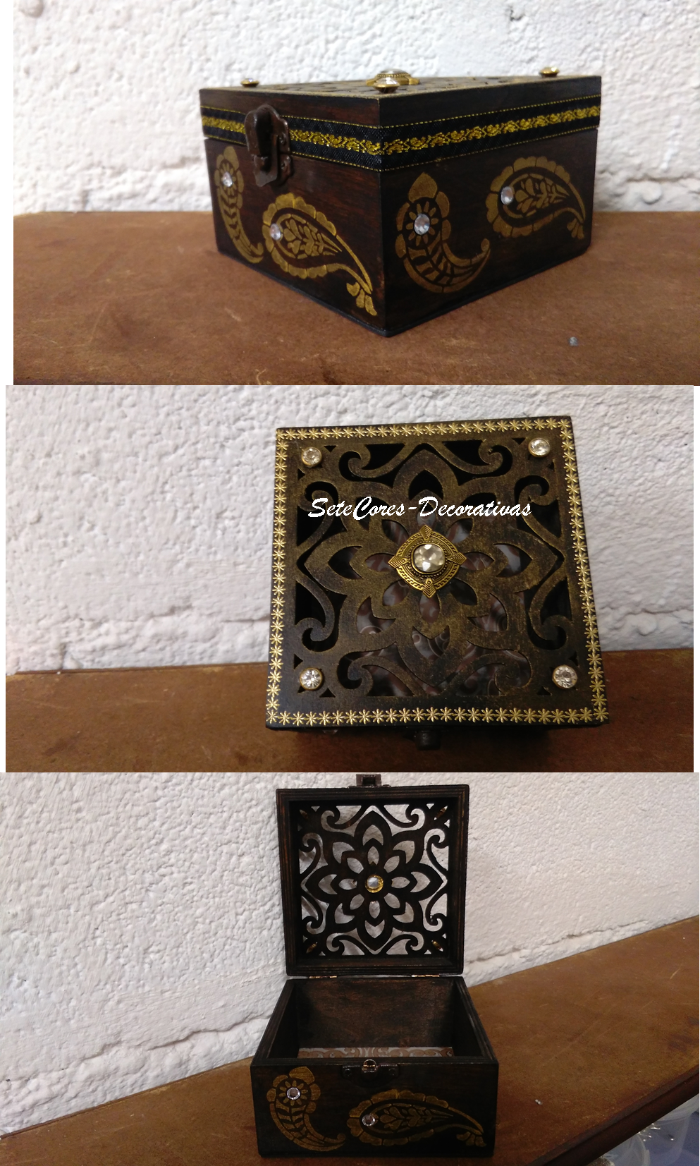 Caixa rendada, pintura e aplicação de pedras