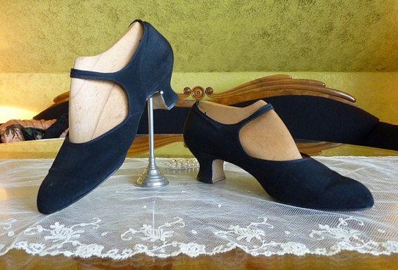 Black Satin Shoes antique shoes flapper shoes by MadameFlorence