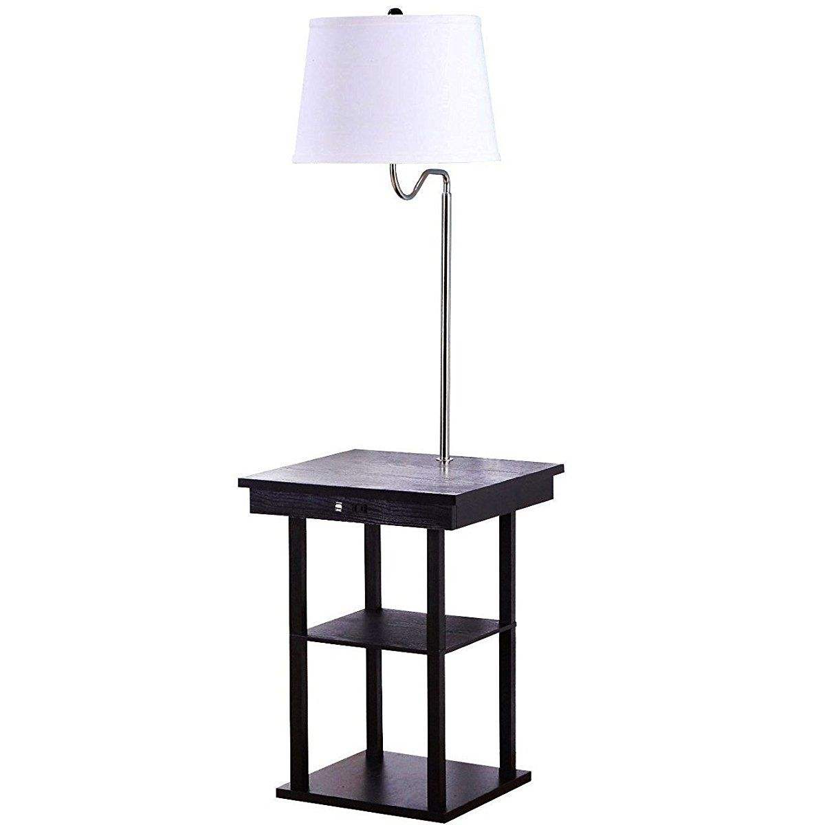 Table With Built In Lamp Endearing Brightech Madison Led Floor Lamp With Builtin Black Table And Shelf 2018