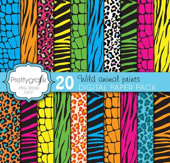 wild animal print digital paper by Prettygrafik Design on @creativemarket
