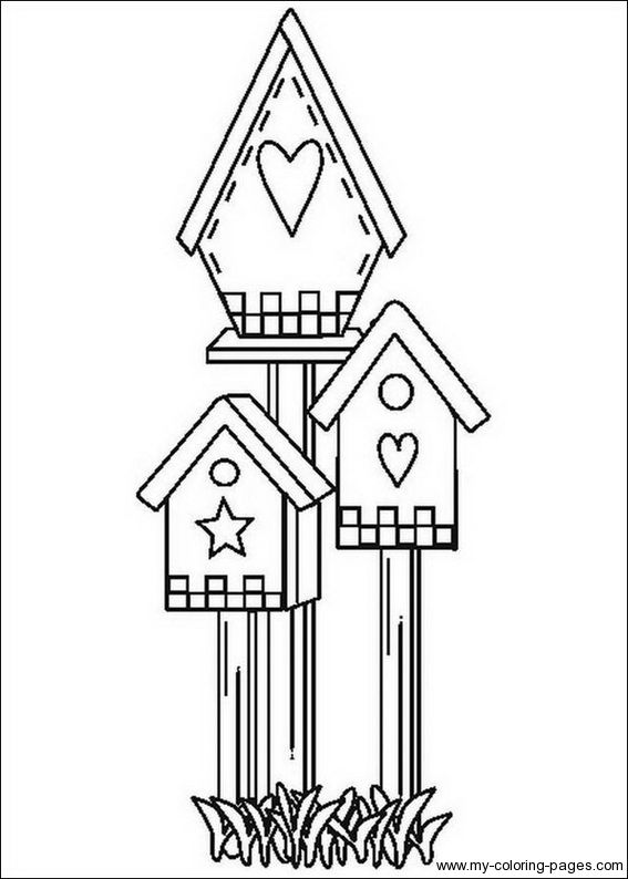 bird houses to color Birdhouse Coloring Pages 017 Embroidery