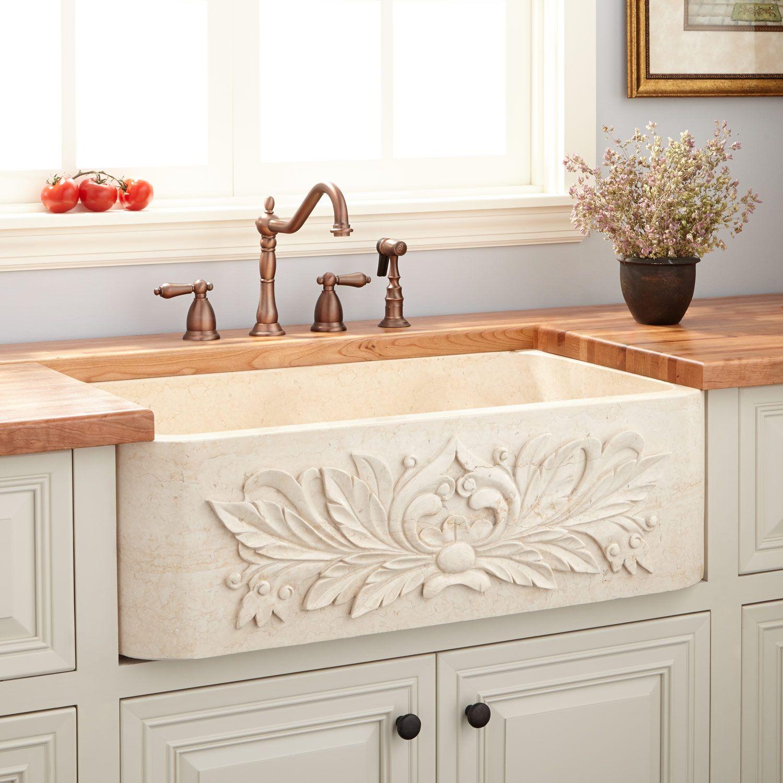 "30"" Ivy Polished Marble Farmhouse Sink - Cream Egyptian"