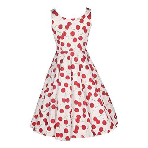 Partiss Damen Frauen Elegant Cherry 50er Vintage Polka Dot Kleid ...