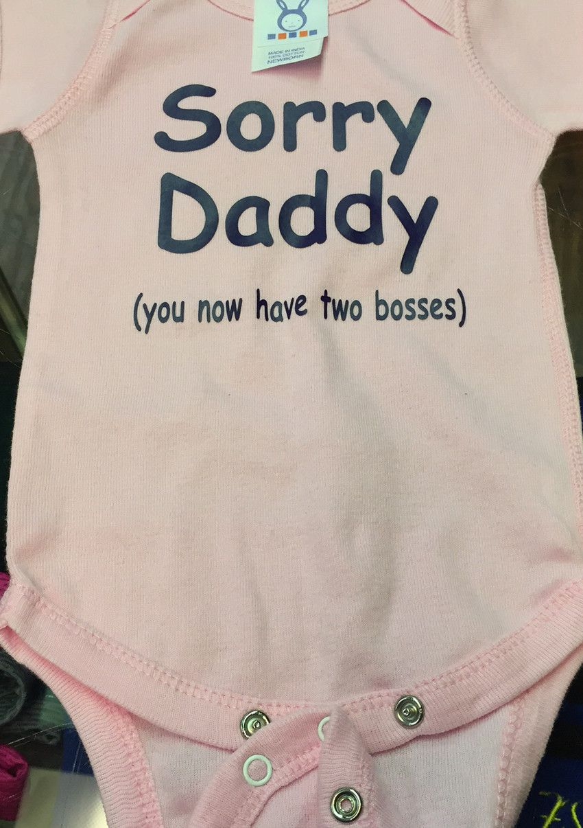 """/"""" Sorry Daddy Now You Have 2 Bosses /"""" Funny cute baby vest Babygrow Bodysuit"""