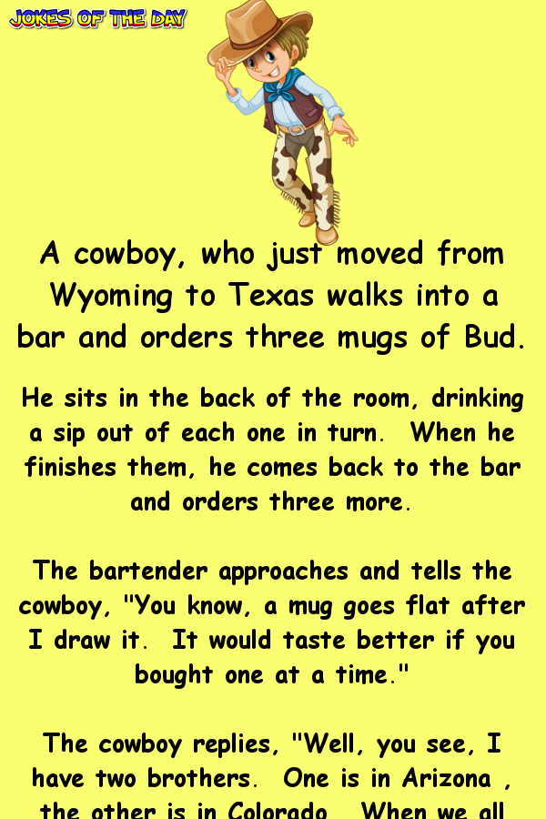 This Texas Cowboy Always Orders Three Drinks At The Bar Work Jokes Clean Funny Jokes Funny Jokes To Tell