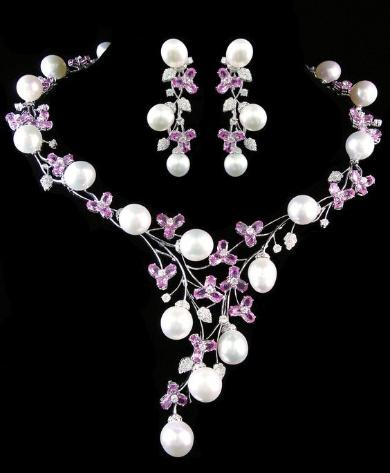 e1bed64fc3643 Pink Sapphire, Pearl, and Diamond Necklace + Earring Set - House of ...