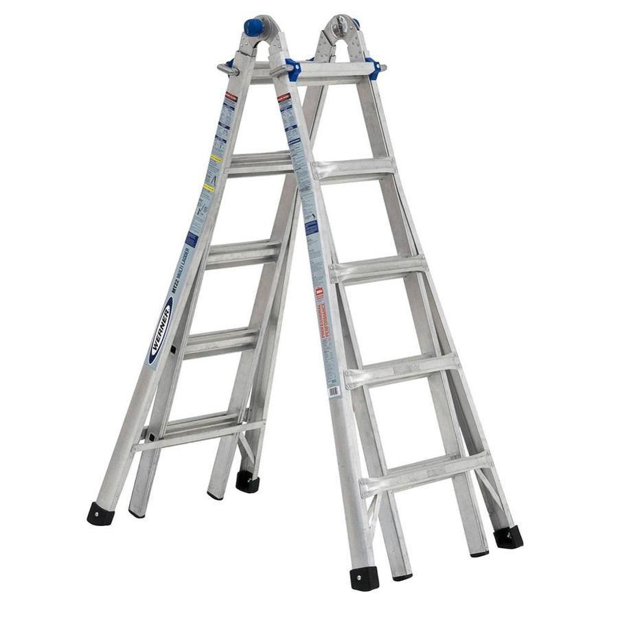 Werner Mtiaa Aluminum 22 Ft Reach Type 1aa 375 Lbs Capacity Telescoping Multi Position Ladder Multi Ladder Aluminium Ladder Ladder