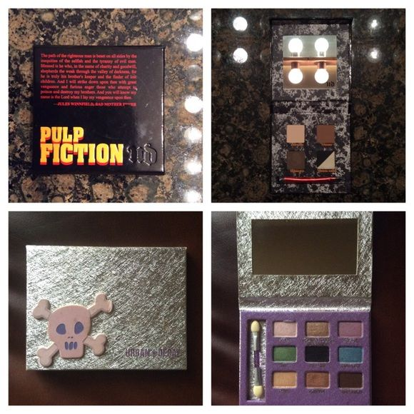 ⚡️Flash Sale: Urban Decay 2 for $20⚡️ Flash Sale: Urban Decay 2 for $22.    Urban Decay Pulp Fiction Palette comes with -5 eye shadows in Righteous (light cream matte), Tyranny (warm brown matte), Vengeance (deep taupe-brown, matte-satin), Furious (white satin), Anger (black satin) -1 double-ended brush  Skull Shadow Box Palette comes with: -9 pans of shadow  -1 double-ended applicator. Urban Decay Makeup Eyeshadow