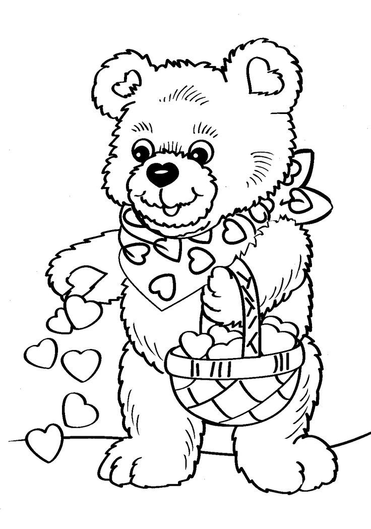 Cute Bear Valentine Coloring Pages Printable And Book To Print For Free Find More Online Kids Adults Of