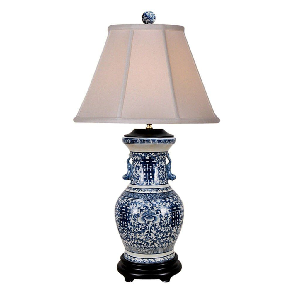 Beautiful Blue And White Porcelain Double Happiness Vase Table Lamp 30 5 Vase Table Lamp Table Lamp Lamp