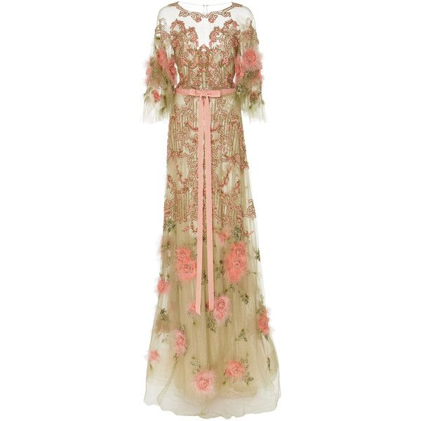 Marchesa Floral Feather Beaded Gown (€8.925) ❤ liked on Polyvore featuring dresses, gowns, gown, marchesa, multi, floral dresses, floral evening gown, brown evening gowns, floral print dress and feather gown