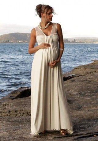 9a345ff7f7ff4 Chiffon V-Neck Sleeveless Empire A-Line Long Simple Maternity Wedding Dress  - Bride - WHITEAZALEA.com