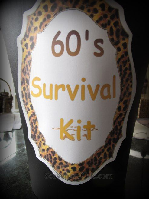 60th birthday party gift ideas 60s survival kit Over The Hill
