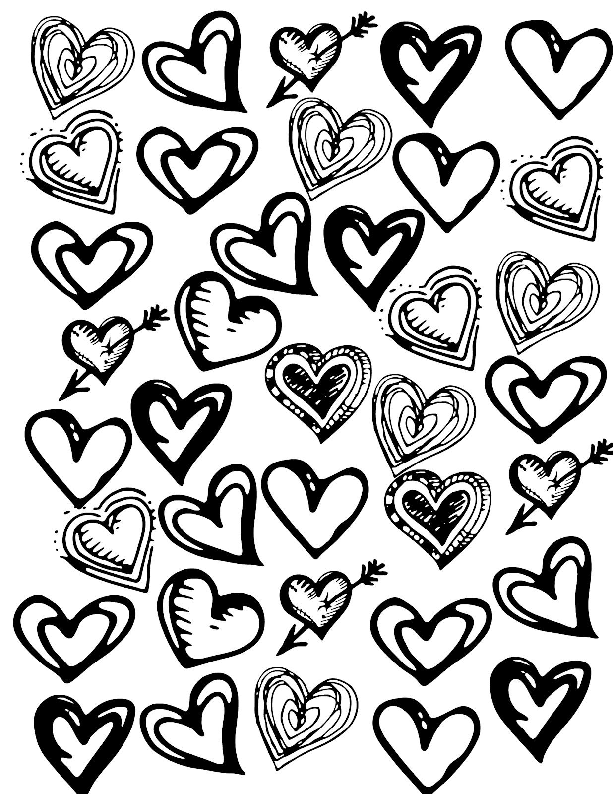 Coloring Valentine Hearts Decorate Mailboxes Valentine Heart Black White Art Black And White Baby