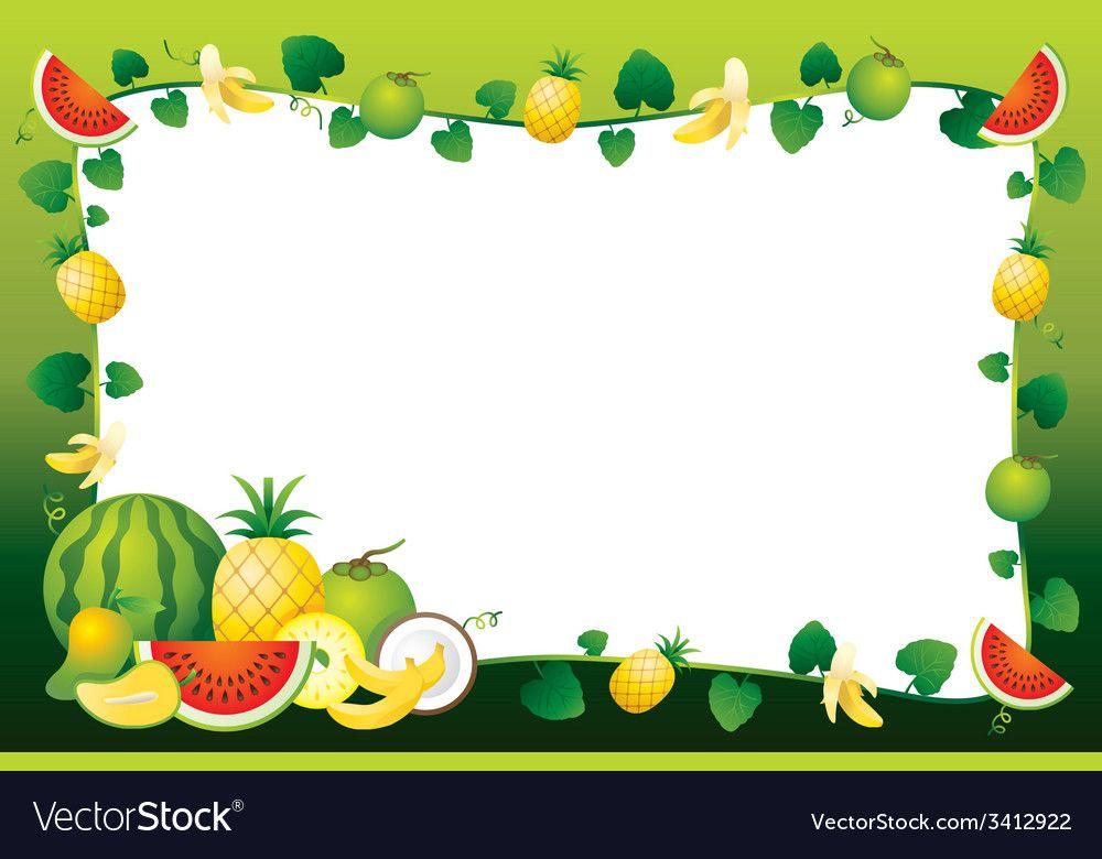 Mixed Fruits Border Frame Royalty Free Vector Image Clip Art Borders Printable Crafts Mixed Fruit