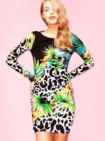 Jungle Bodycon Long Sleeve Dress   Ladies Clothing Online   Birdmotel