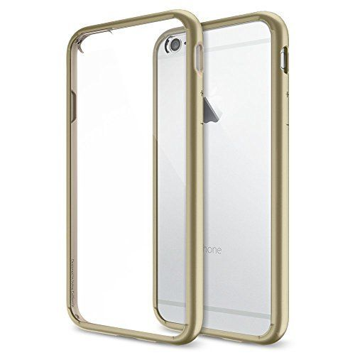 SPIGEN CHAMPAGNE #GOLDIPHONE6CASE (4.7') - Clear #HardBackPanel + Flexible Matte Edge = Combination of TPU and Polycarbonate for dual protection.