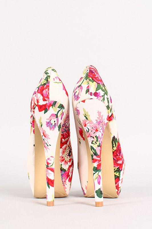 Liliana Freja-6 Floral Almond Toe Platform Pump